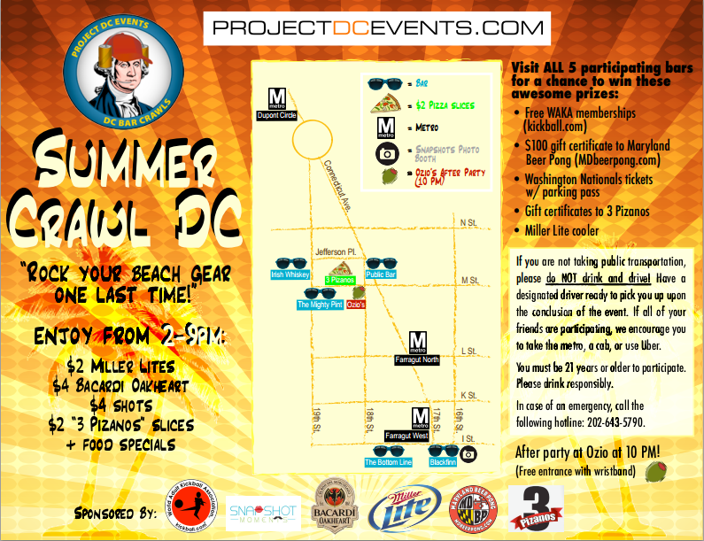 Summer Crawl DC bar crawl map