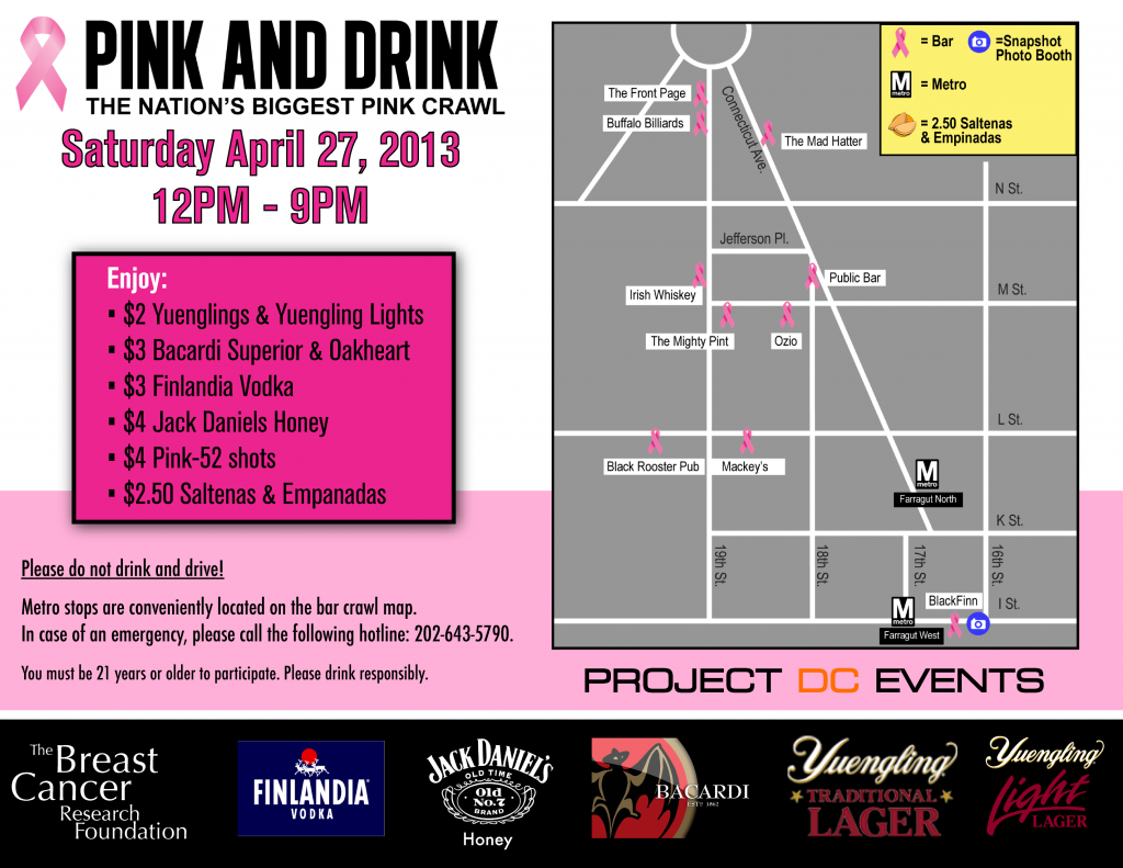 Pink and Drink Bar Crawl Map