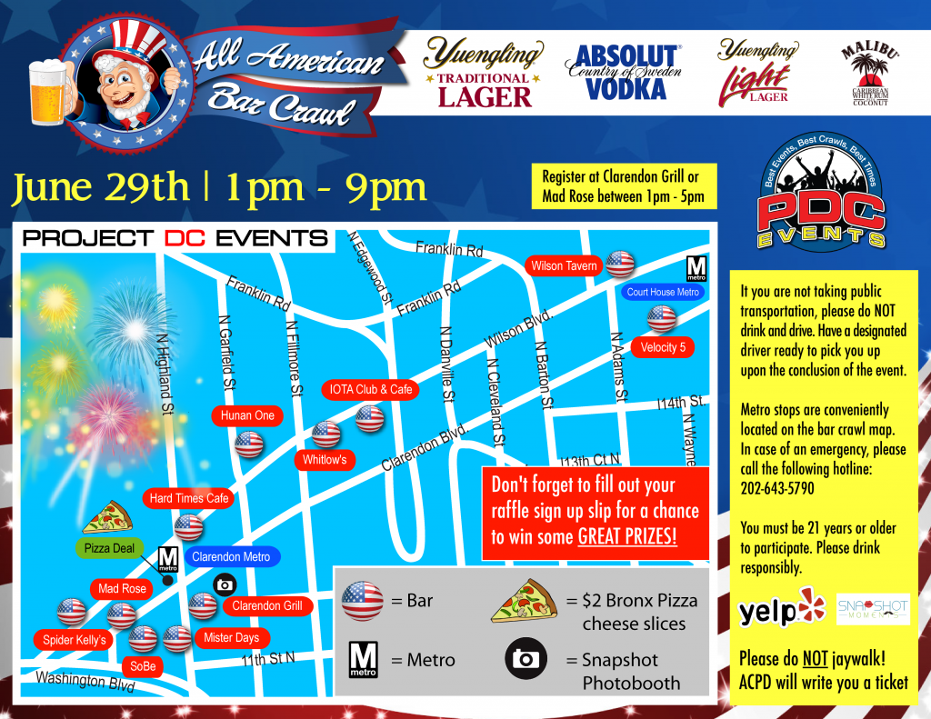 All American Bar Crawl Route Map