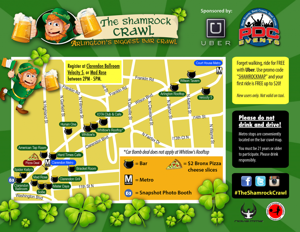 The Shamrock Crawl 2014 route map