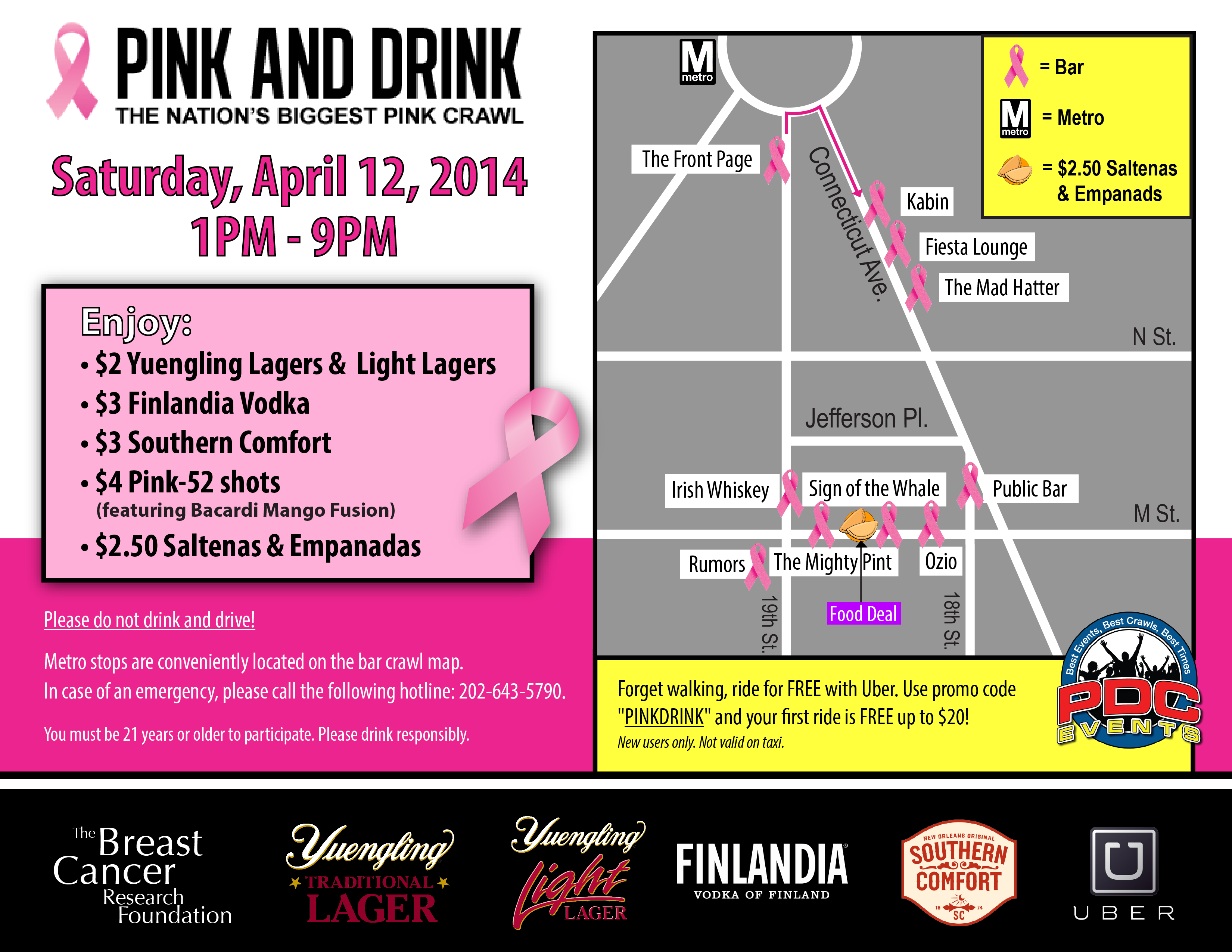 Pink and Drink 2014 Route Map