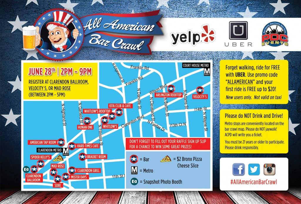 All American Bar Crawl 2014 Map
