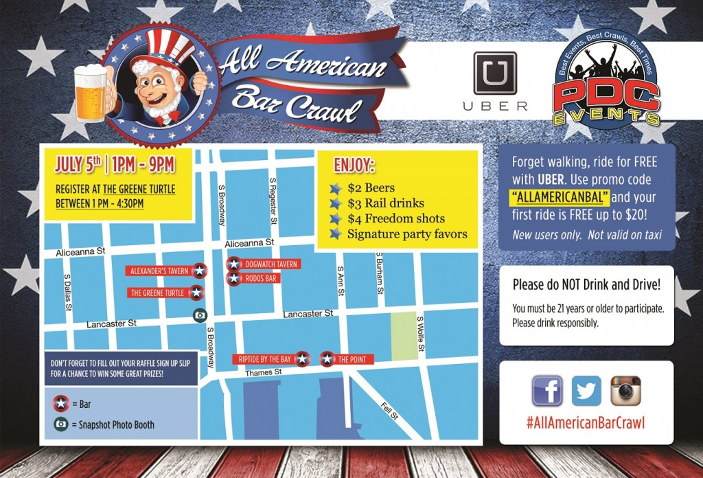 All American Bar Crawl Map - Baltimore