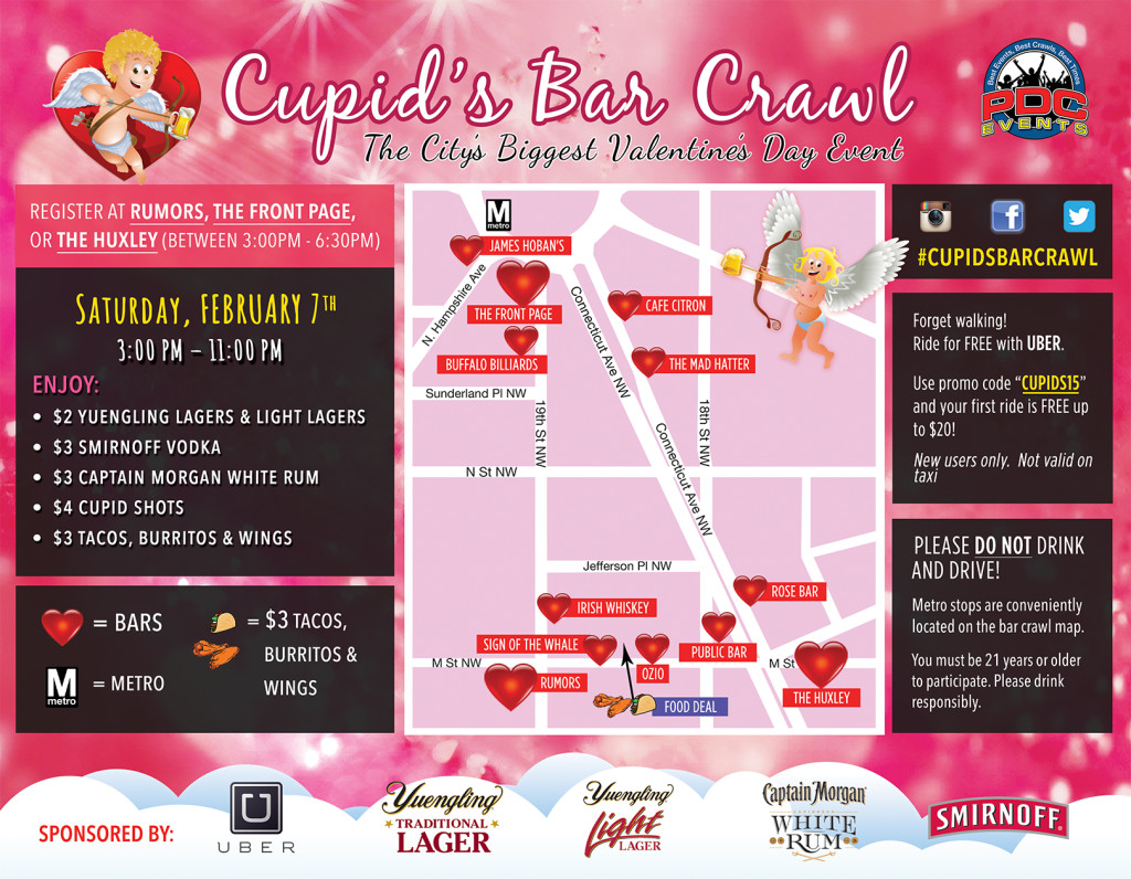 Cupid's Bar Crawl Route Map - Washington, DC