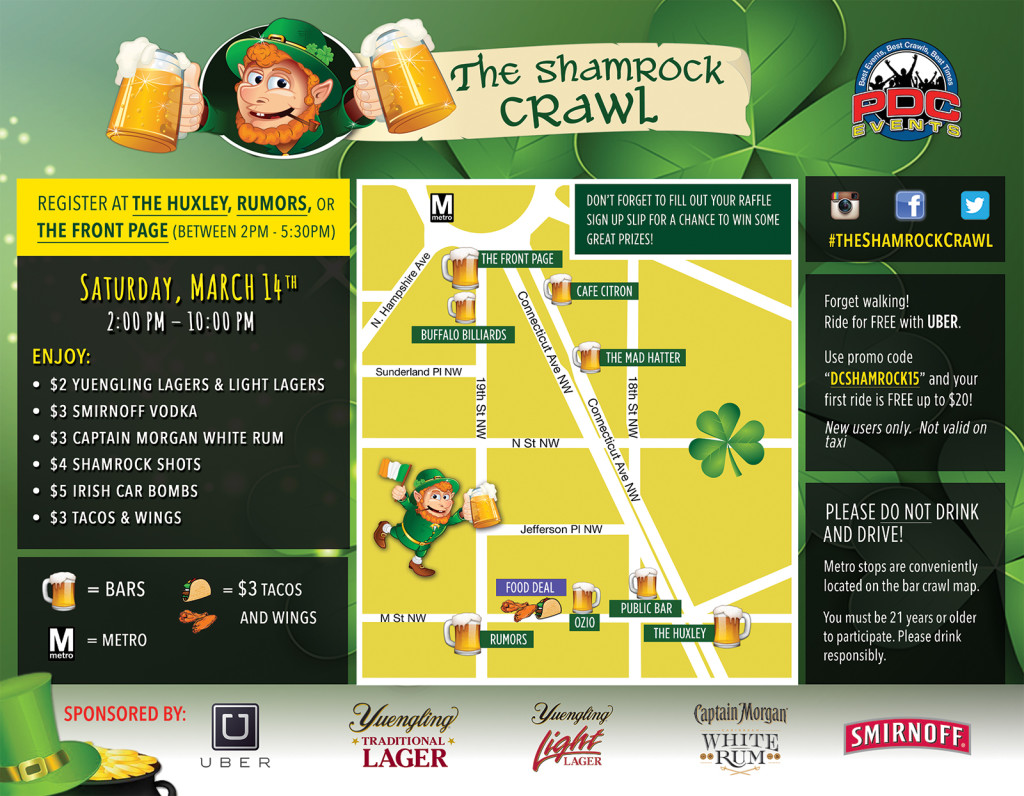 The Shamrock Crawl DC Route Map