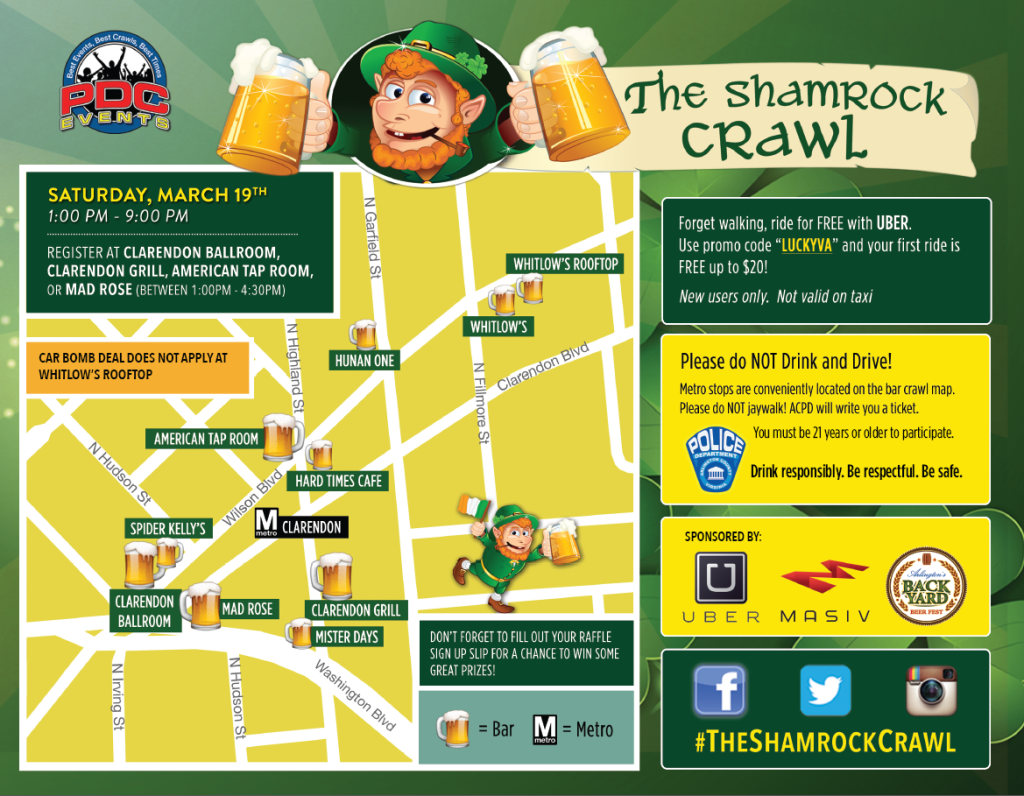 Map Shamrock Crawl 2016 arlington, va