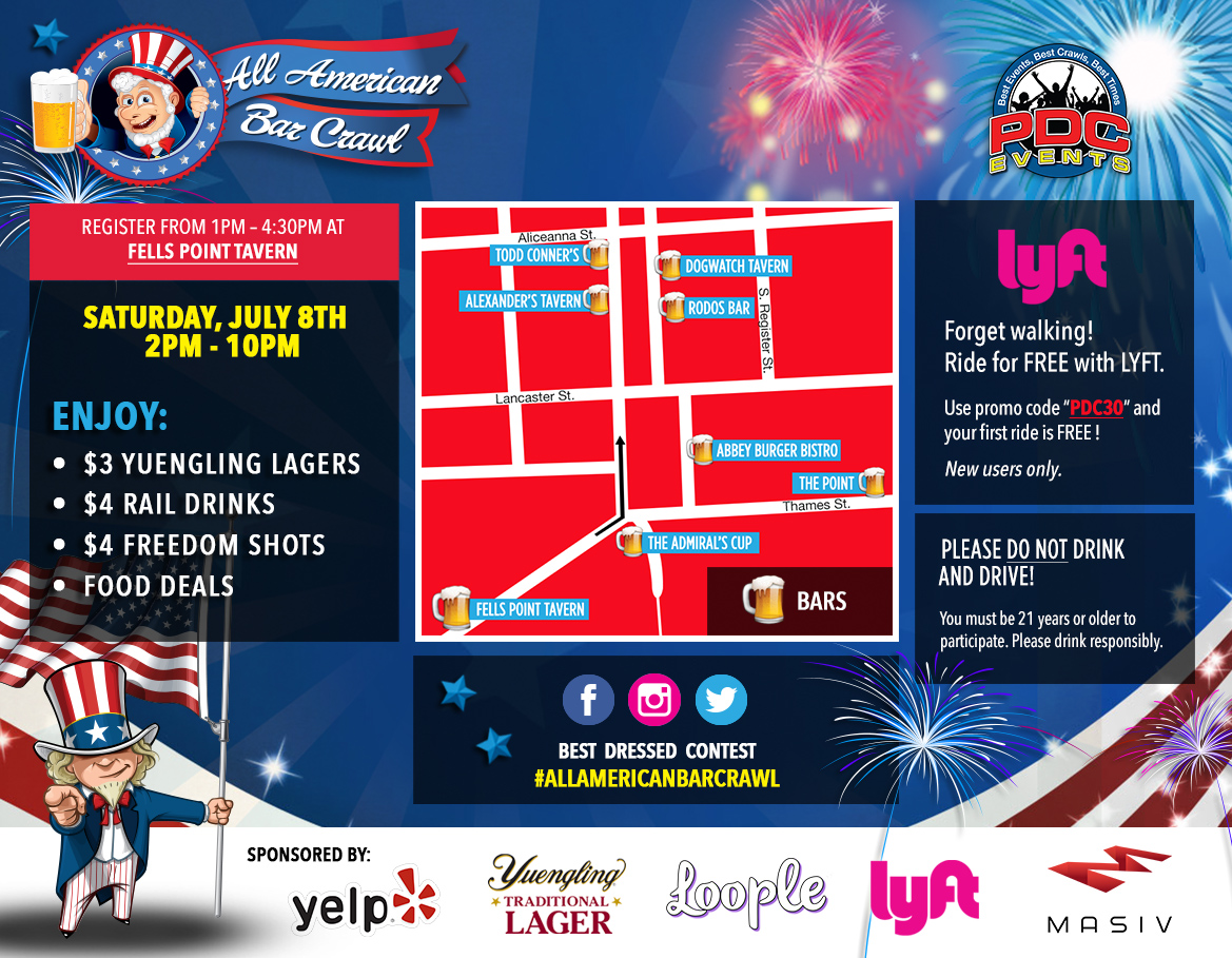 All American Bar Crawl 2017 Route Map - Fells Point, MD